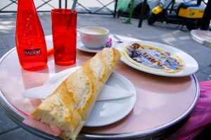 Jambon burre and chocolate crêpe |Paris